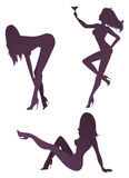 Sexy girls. Set of sexy girl's silhouettes Royalty Free Stock Image