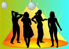 Girls. Dancing in the disco illustration royalty free illustration