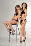 Sexy girls in a black swimsuit. One girl is sittin Royalty Free Stock Photography