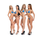 Girls in formula one race bikini in studio. Tanned girls dressed in formula one race style blue bikini and high heel platform shoes posing cheerfully and flirty stock photography