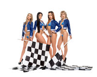 girls in formula one race jacket keeping flag royalty free stock photography