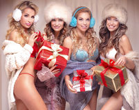 Sexy girls with gifts. Stock Images