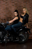 Sexy girls on motorbike Stock Photo