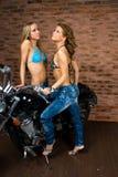Sexy girls on motorbike Stock Photo
