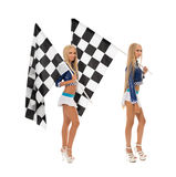 Sexy girls posing with flags. Concept of race Stock Photo
