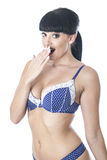Sexy Glamorous Beautiful Young Woman In Blue and White Lacy Lingerie Royalty Free Stock Photography
