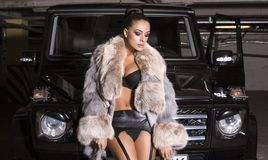 Sexy glamour woman with fur coat posing beside a Royalty Free Stock Images