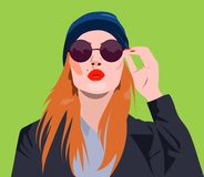 Sexy glamourous girl in sunglasses blowing a kiss. Sexy glamourous girl in sunglasses and hat blowing a kiss, vector ads, promo banner, poster, illustration Royalty Free Stock Photo
