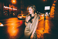 gorgeous brunette girl portrait in night city lights Royalty Free Stock Photography