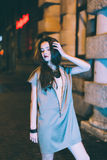 Sexy gorgeous brunette girl portrait in night city lights Stock Photography