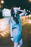 Sexy gorgeous brunette girl portrait in night city lights Royalty Free Stock Photos
