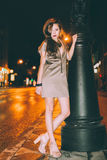 Sexy gorgeous brunette girl portrait in night city lights Stock Images