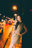 Sexy gorgeous brunette girl portrait in night city lights Royalty Free Stock Photo