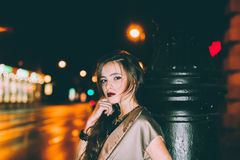 Sexy gorgeous brunette girl portrait in night city lights Royalty Free Stock Images
