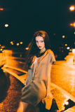 Sexy gorgeous brunette girl portrait in night city lights Stock Image