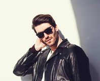 gorgeous stylish man in leather jacket Royalty Free Stock Photo