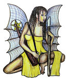 Sexy Gothic Fairy. Illustration of a gorgeous fairy warrior armed with weapons to protect the kindred spirits Royalty Free Stock Photo