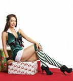 Sexy green Christmas holiday costume Royalty Free Stock Images