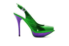 Sexy green shoes. Green woman shoes isolated on white Stock Image