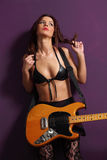 Sexy guitarist Royalty Free Stock Image