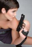 Gun Woman. Beautiful pretty gun woman royalty free stock images