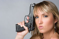 Sexy Gun Woman Stock Photography