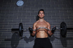 Sexy guy with a beautiful muscular figure is engaged in an expensive sports club Royalty Free Stock Photo
