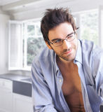 Sexy guy with playful smirk Royalty Free Stock Photo