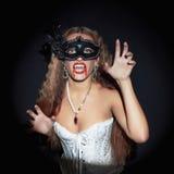 Sexy halloween vamp girl in mask Royalty Free Stock Photos