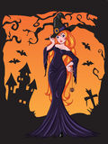 Sexy Halloween witch drawing Royalty Free Stock Photography