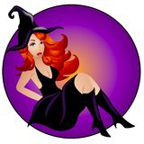 Sexy Halloween Witch Woman Stock Photography