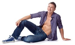 Sexy handsome macho posing in casual wear Stock Photo