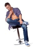 handsome man posing in casual wear Stock Photography