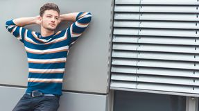 handsome young man posing royalty free stock photography