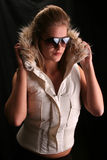 Hannah. Model wearing shades and a winter jacket Stock Photography