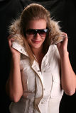 Sexy hannah in ski jacket. Model with long legs wearing ski jacket Royalty Free Stock Image