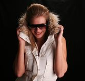 Sexy hannah in ski jacket. Model with long legs wearing ski jacket Royalty Free Stock Photography