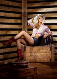 Sexy and happy cowgirl posing in a barn Stock Photo