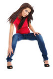 Sexy happy girl in blue jeans Royalty Free Stock Images