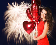 Sexy happy woman with balloons Royalty Free Stock Images