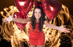 Sexy happy woman with balloons Royalty Free Stock Photos