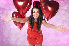 Sexy happy woman with balloons Stock Images