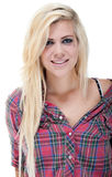 happy young blonde female against white Stock Image
