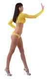 Sexy hartstochtelijk model in geel ondergoed Royalty-vrije Stock Afbeeldingen