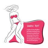 Sexy and Healthy Bikini Girl Full-body Pose in Bikini. Royalty Free Stock Photo