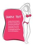 Sexy and Healthy Bikini Girl Full-body Pose in Bikini. Royalty Free Stock Photos