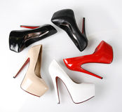 Heels in circle. Shoes in circle on a white background royalty free stock photo