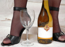 Sexy Heels, Stockings with Wine Stock Photo
