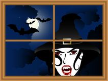 Sexy heks achter het venster stock illustratie