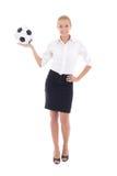 Sexy het voetbalbal van de bedrijfsdievrouwenholding ter beschikking op whit wordt geïsoleerd Stock Afbeeldingen